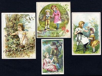 GARDENS - 4 VICTORIAN Greeting Cards with CHILDREN - New Year 1880's