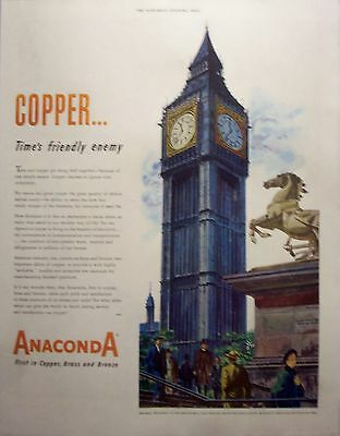 1950 Anaconda Big Ben London Famous Voice Of Time Copper Times Friendly Enemy ad