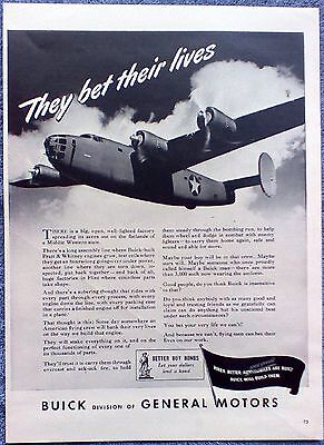1943 Buick Pratt & Whitney Engine Airplane They Bet Their Lives ad