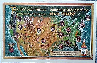 1962 Old Crow Whiskey United States Map Famous People Jack London Mark Twain ad