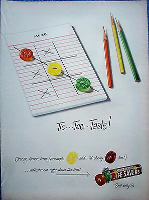 1949 Life Savers Candy Five Flavors Tic Tac Toe Taste Colored Pencils ad