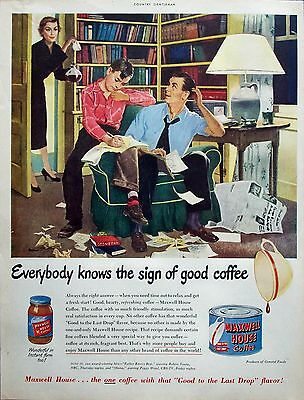 1950 Maxwell House Coffee Father Helping Son Geometry Homework Break Hughes ad