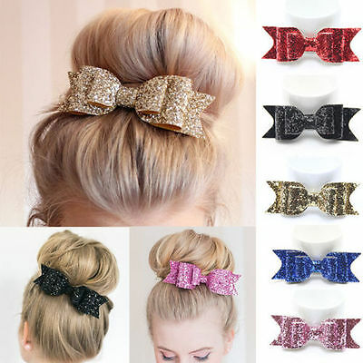 Shiny Glitter Bow Baby Kids Hair Clips Headwear Girls Hair Bow Accessories NE