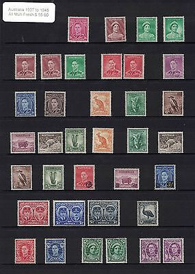 1937/45 Australia Selection of all muh fresh stamps
