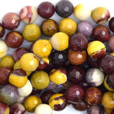 "Faceted Mookaite Round Beads Gemstone 15.5"" Strand 4mm 6mm 8mm 10mm 12mm"