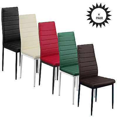 PAIR Dining Chairs Modern PU Faux Leather Metal Legs High Back Cozy Kitchen Room
