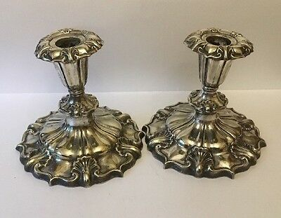 Art Nouveau Arts Crafts Sheffield Silver Plated Silverplated Pair Candlesticks