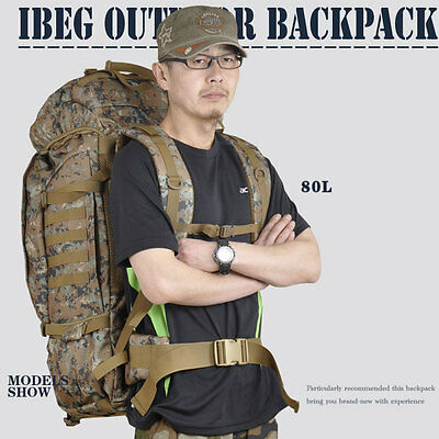New Unisex 80L Outdoor Tactical Sport Camping Hiking Travel Camo Laptop Backpack