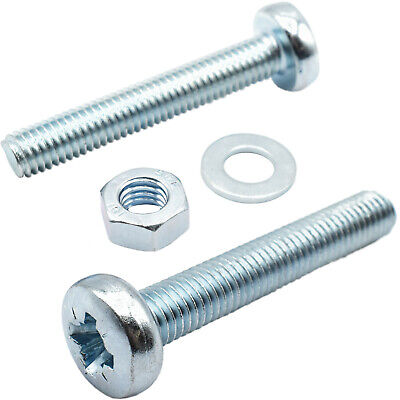 M2 & M2.5 Zinc Machine Pozi Pan Head Screws Bolts With Full Nuts & Thick Washers
