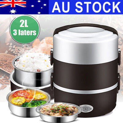 Electric Portable 3 layer 1.6L Rice Cooker Mini Lunch Box Stainless Steamer Pot