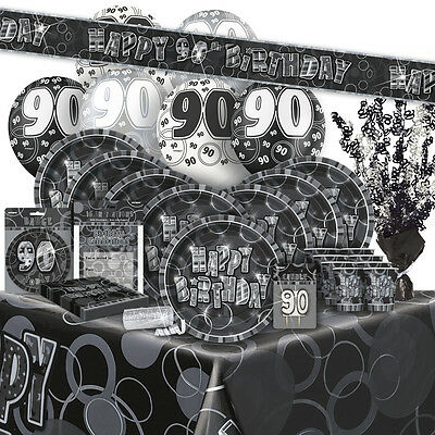 90 90th BIRTHDAY BLACK SILVER GLITZ Party Range Birthday Plates Napkins