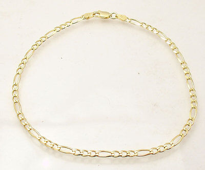 """10"""" Italian Solid Royal Figaro Ankle Bracelet Anklet 14K Yellow Gold Clad Silver"""