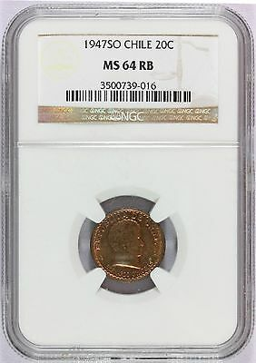 1947 SO Chile 20 Centavos Coin - NGC MS 64 RB - KM# 177 - HIGHEST GRADE