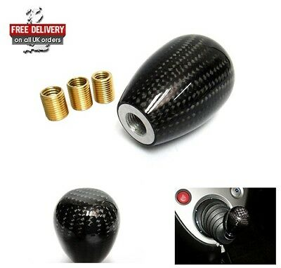 Genuine 3D Carbon Fibre Fiber JDM Type R Manual 5 Speed Shifter Gear Shift Knob