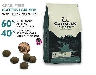 Canagan Natural Adult Grain Free Dog Food. Scottish Salmon in 2kg 6kg 12kg bags