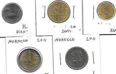 Morocco 2011 Full Set Of 5 Unc Coins