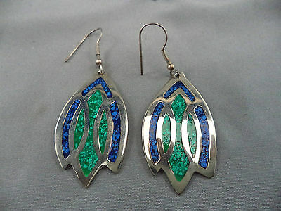Vintage Pair Mexico Mexican Gold Washed Pierced Earrings with Stone Chip Inlay
