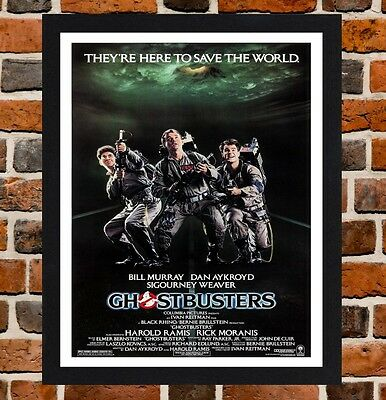 Framed Ghostbusters Movie Poster A4 / A3 Size Mounted In Black / White Frame