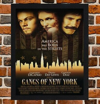 Framed Gangs Of New York Film Poster A4 / A3 Size Mounted In Black / White Frame