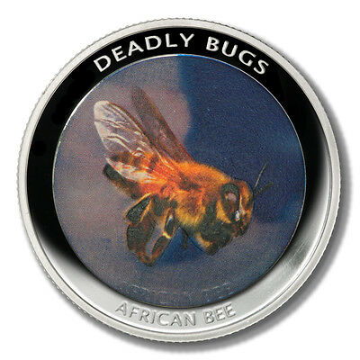 Zambia Deadly Insects African Killer Bee 1000 Kwacha 2010 Proof Colored Coin