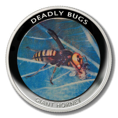 Zambia Deadly Insects Asian Giant Hornet 1000 Kwacha 2010 Proof Colored Coin