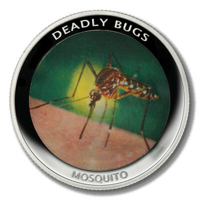 Zambia Deadly Insects Mosquito 1000 Kwacha 2010  Proof Colored Coin