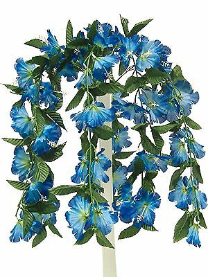 "26"" BLUE Hibiscus Hanging Bush Silk Flowers Wedding Bouquets Centerpieces Decor"