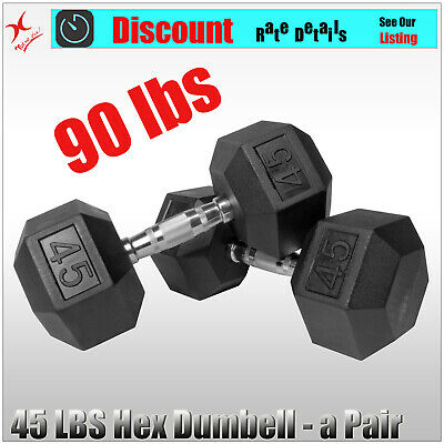 A Pair 45Lb Rubber Coated Hex Dumbell Weight - Total 90Lbs = 41Kg Dumbell Weight