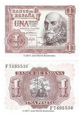 Spain 1 Peseta 1953 P-144 Mint UNC Uncirculated Banknotes