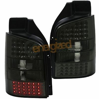Vw Transporter T5 Single Door 03-10 Rear Led Tail Lights Smoked Black Pair
