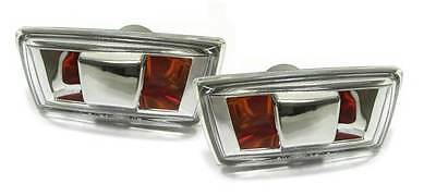 Vauxhall Corsa D 2006-  Amber & Chrome Side Repeaters 1 Pair