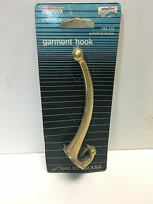 National Solid Brass Polished Clear Lacquer Coating Garment Coat Hat Hook 198135