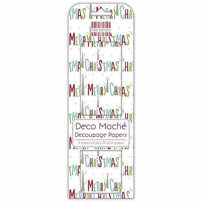 Merry Xmas Multi Deco Mache x 3 Tissue Patch Paper Sheet First Edition Craft