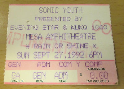 1992 Sonic Youth Pavement Mesa Ariz. Concert Ticket Stub Thurston Moore Nirvana