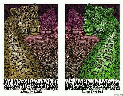 My Morning Jacket Red Rocks 2012 Concert Poster Emek Set X2 Matching Numbers
