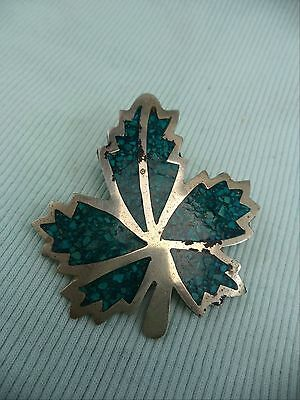 Mexican Silver Maple Leaf Turquoise Chip Enamel Brooch Pin 6.8 grams Estate Item