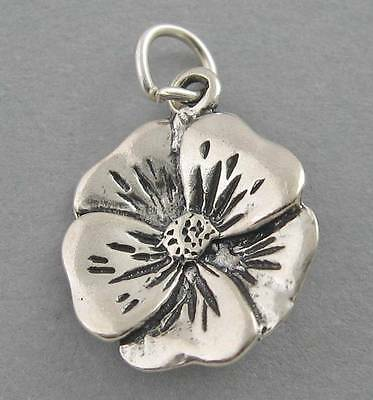 Sterling Silver 3D 13x12mm Rose short Stem with 2 Leaves Flower Charm