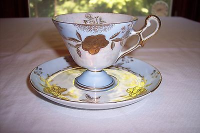 Vintage Lefton Blue Luster & Gold Rose Footed Cup and Saucer