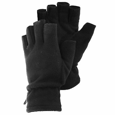 Mens Casual Plain Black Fingerless Winter Warm Thermal Fleece Outdoor Gloves
