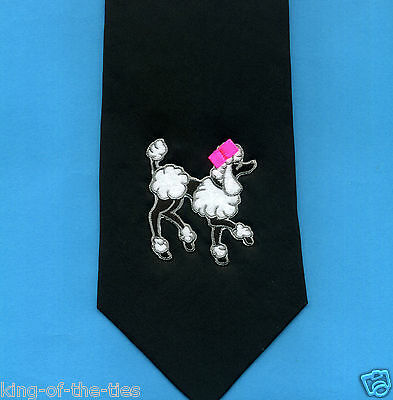 FREE P&P* 100% Silk - Black & White Toy Poodle Dog Canine Novelty Fun Tie  #2045
