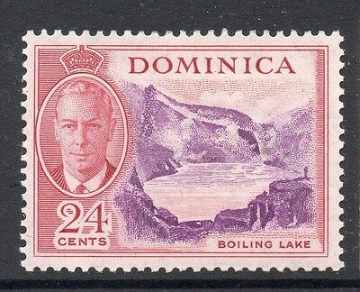 DOMINICA;  1950 early GVI issue fine Mint hinged 24c. value 077527