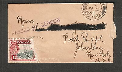 Dominica 1940 WWII passed by censor cover Miss F Green Greenholme Roseau to USA