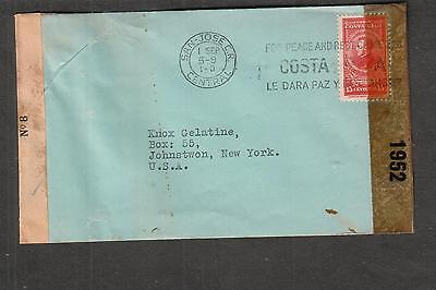 Costa Rica censor no 8 & US examiner 1952 New Orleans WWII cover san Jose to USA