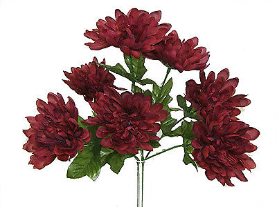 7 MUMS ~ BURGUNDY ~ Silk Wedding Flowers Bouquets Centerpieces Bridal Decoration