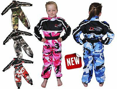 Childrens Kids CAMO RACE SUIT Overalls Karting Motocross Racing One Piece Bike