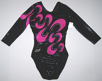 Nwt New Alpha Factor Leotard Hologram Holo Black Pink Insert Crystal Women AS S