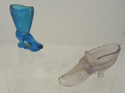 Two Antique EAPG Shoes * Blue * Amethyst