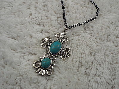 Silvertone Blue Howlite Cabochon CROSS Pendant Black Chain Necklace (C55)