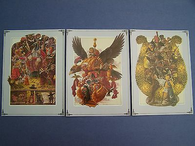 NEW 1979 THE PEACOCK PARTY Paper Moon BLANK CARDS Lot of 3 Gothic HALLOWEEN Cool