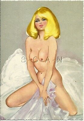 Original 1950s-60s German Nude Artistic Pinup PC- Endowed Blond- Holds Lingerie